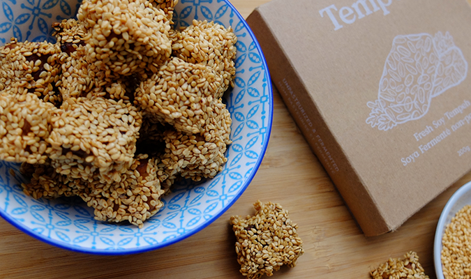 Bowl of Sweet Sesame Tempeh Bites