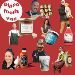 bipoc foods van poster featuring a collage of vendors and products that will be sold at the pop-up event
